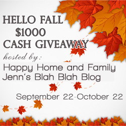 HELLO FALL $1,000 CASH Giveaway
