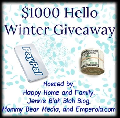 CASH GIVEAWAY – $1000 Hello Winter Giveaway – Ends 2/24/2013