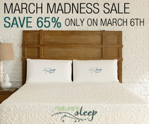 Nature's Sleep 65% Off March Madness Sale