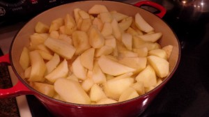 Place apples into large pot, which has boiling vinegar and water solution.