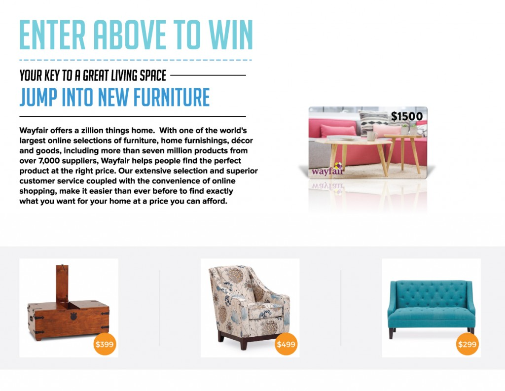 Wayfair $1500 Furniture Sweepstakes Ends in October
