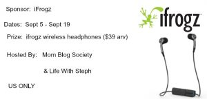 iFrogz Earbuds Giveaway ~ Ends Sept 19