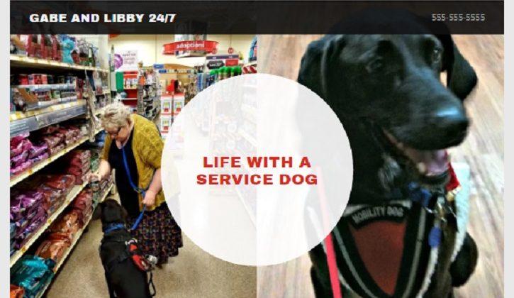 GoDaddy's GoCentral Website Builder Service dog and handler