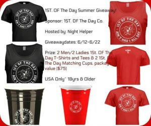 1St. OF The Day Summer Co. Shirts & Cups GIVEAWAY