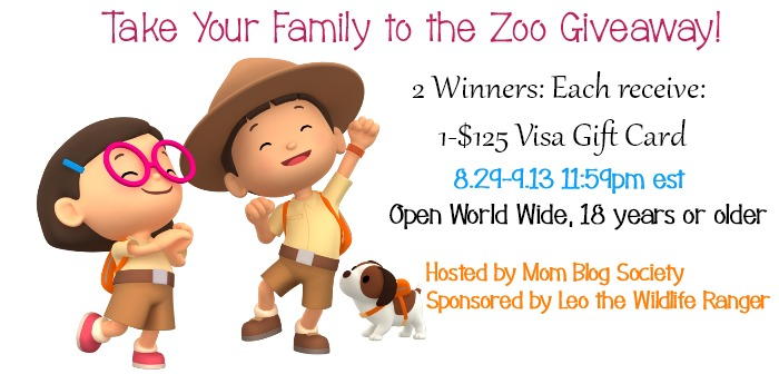 Take Your Family to the Zoo Win 1 of 2 $125 Visa GC