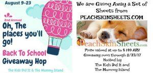 Back to School Giveaway Hop: PeachskinSheets.com