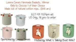 Lorena Canals Basket Giveaway Winner's Choice (arv $46)