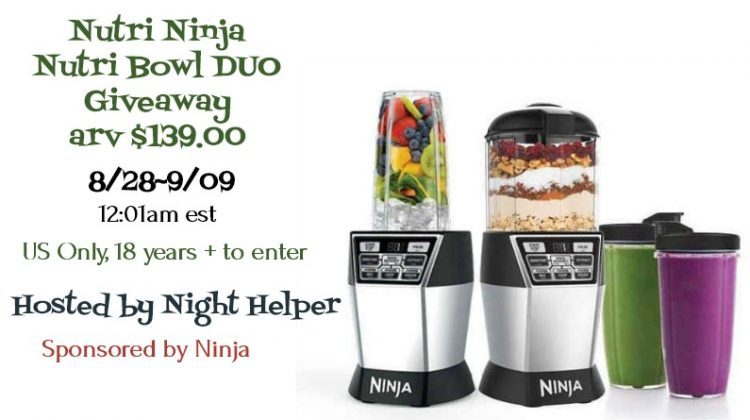 Enter to Win a Nutri Ninja Nutri Bowl DUO (arv $139)