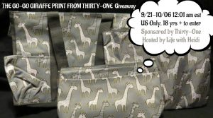 Thirty-One Gifts Go-Go Giraffe Print Giveaway