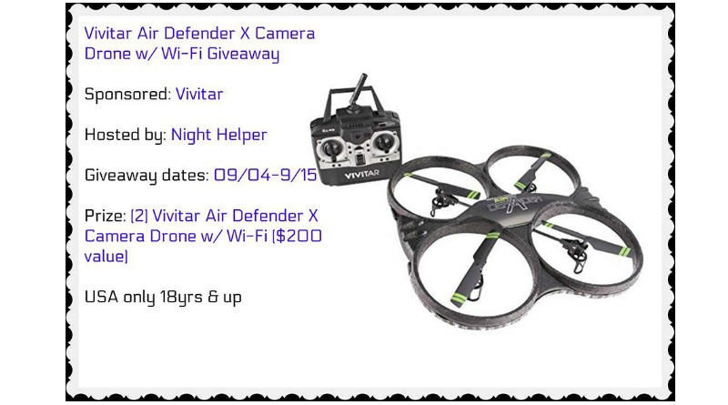 Vivitar Air Defender X Camera Drone w/ Wi-Fi Giveaway (2 winners)