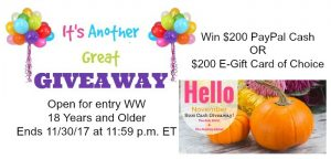 Hello November Cash Giveaway