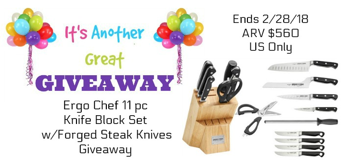 Ergo Chef 11 pc Knife Block Set w/Forged Steak Knives Giveaway