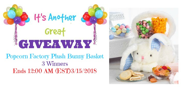 Popcorn Factory Plush Bunny Basket Giveaway