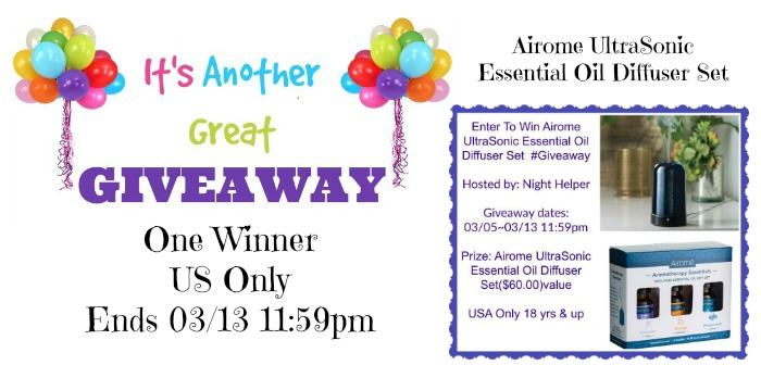 Airome UltraSonic Essential Oil Diffuser Set Giveaway