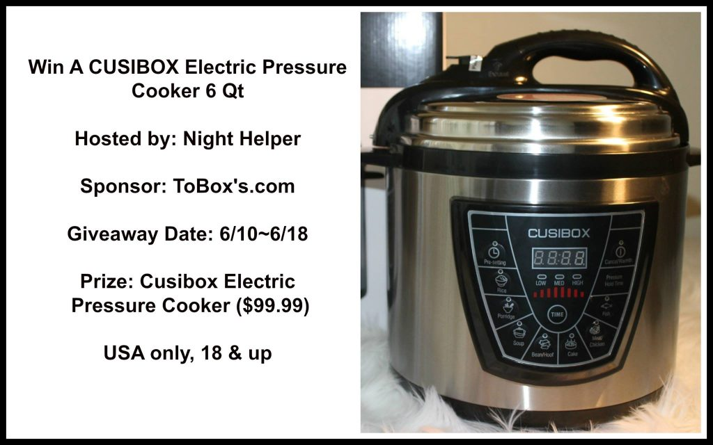 CUSIBOX Electric Pressure Cooker 6 Qt Giveaway