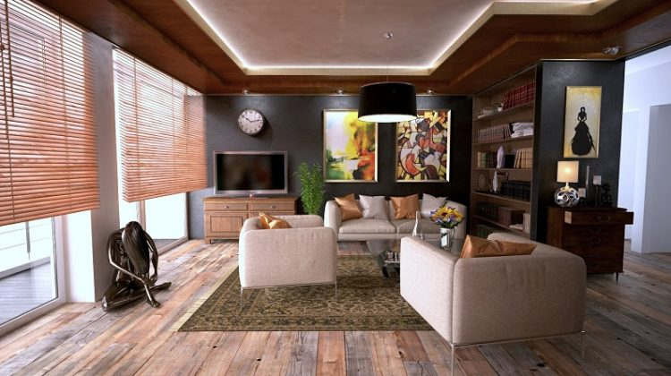 Lovely Living Room with Beautiful Wooden Blinds in the Windows