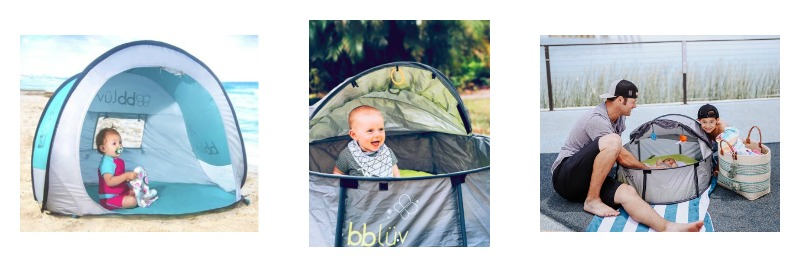 From Left to Right -  bblüv Sunkitö – Anti-UV pop-up play tent with mosquito / netNidö – 2 in 1 Travel & play tent / Nidö Mini – 2-in-1 Travel & play tent