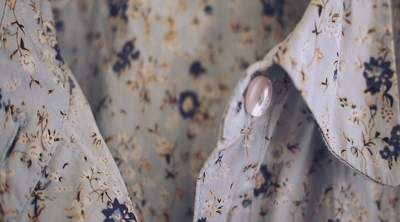 Soft Gray Blouse with Blue Floral Pattern
