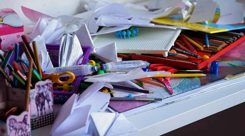 Cluttered Table - Decluttering Tips