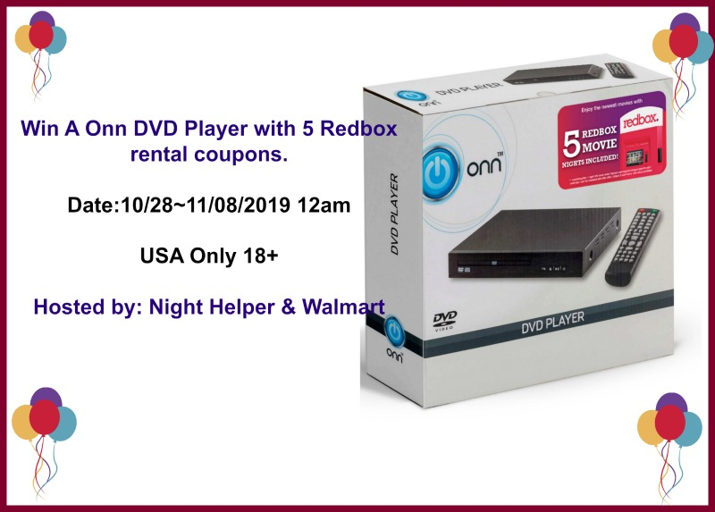 ONN DVD Player and Redbox Rental Coupons Giveaway