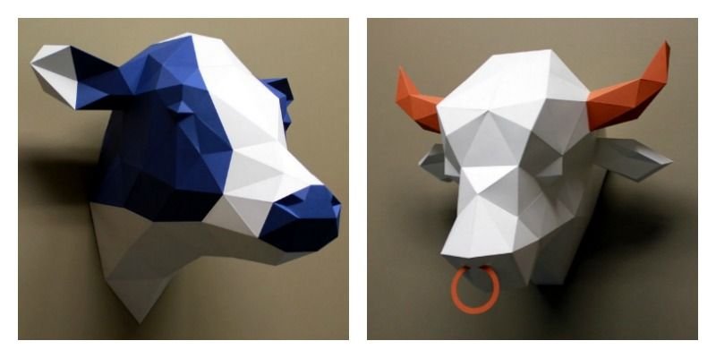 Blue and White Cow and Orange and Purple Bull - Making a House a Home