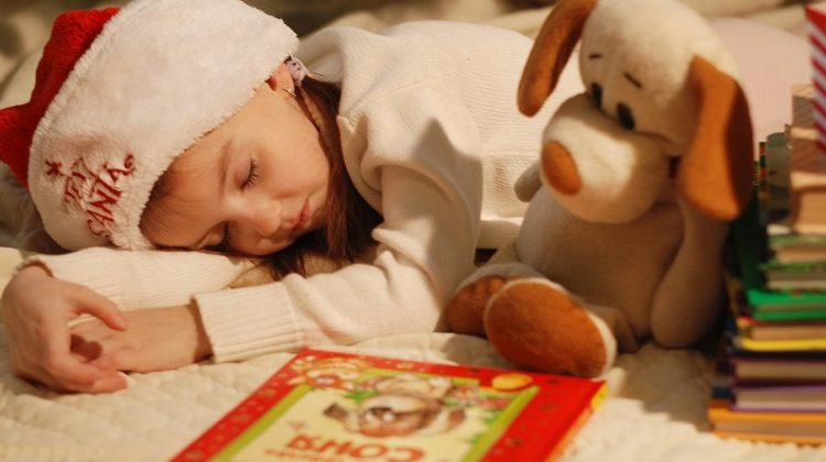 Sleeping Child Wearing a Santa Hat, with books - 2019 Holiday Gift Guide - Great Reads For All Ages