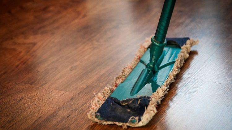 Dust Mop on Wood Floor -