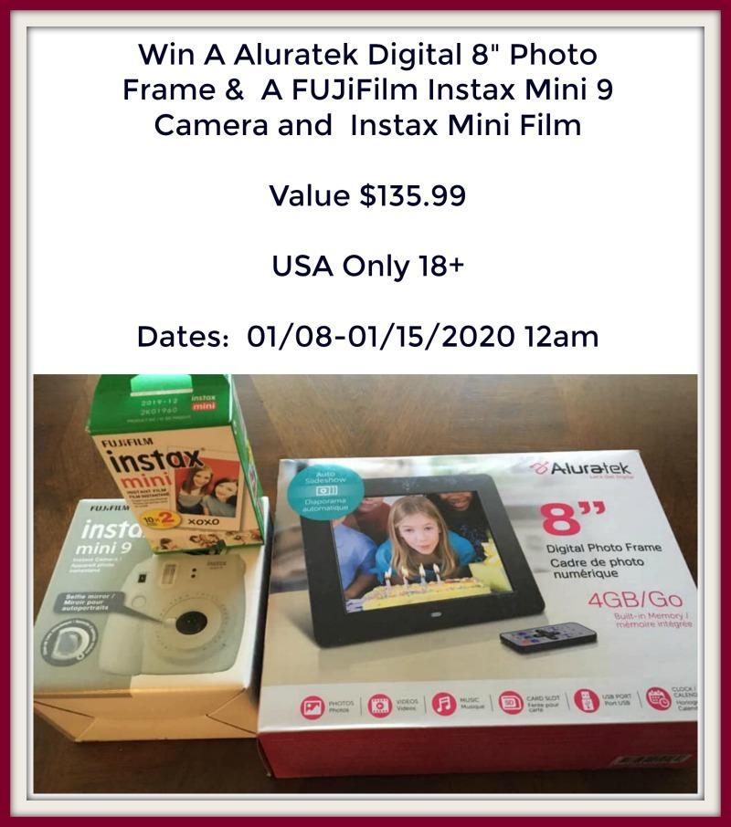 "Aluratek Digital 8"" Photo Frame & A FUJiFilm Instax Mini 9 Camera and Instax Mini Film Giveaway"