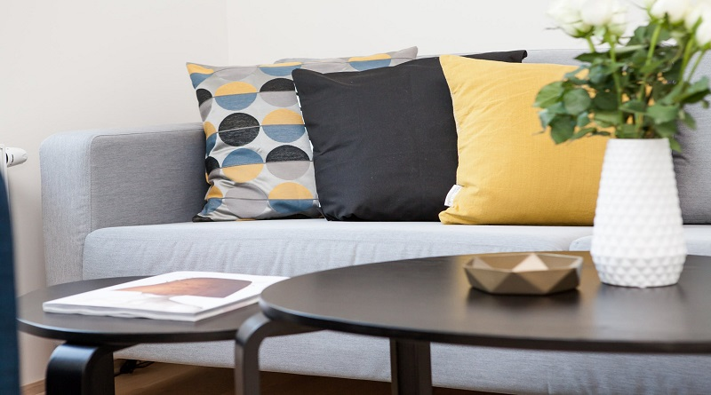 Gray Sofa with Colored Accent Cushions - How to Add a Little Personality to Your Home