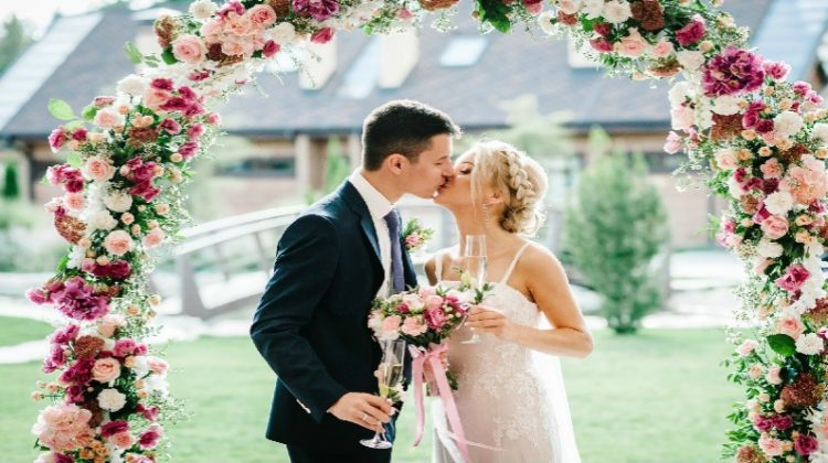 Bride and Groom at Outdoor Wedding - Home Wedding Ideas