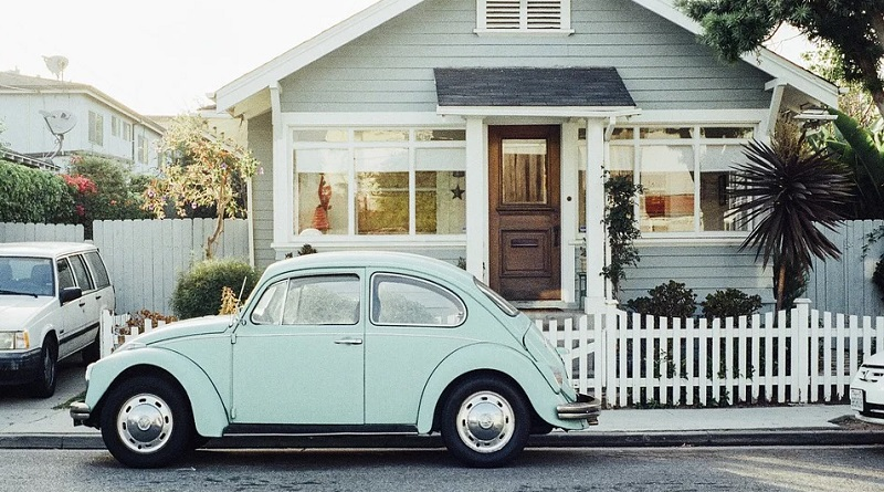 Older Wood Frame House with VWBug Parked in Front - Electrical Issues