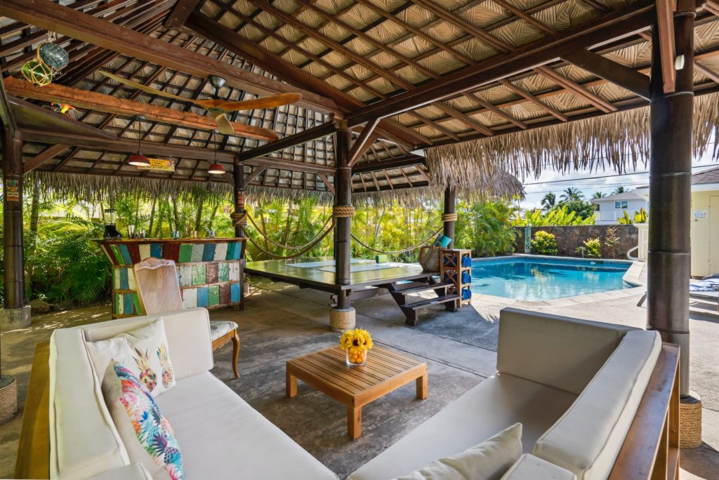 Furnished outdoor Cabana by swimming pool - Decorative Ideas For Your Garden Decking