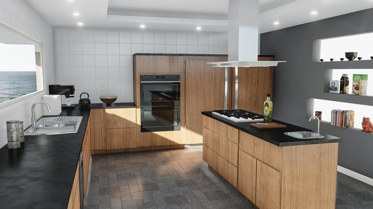 Modern Kitchen with Grey Tile Floor - Tiles in Your Home
