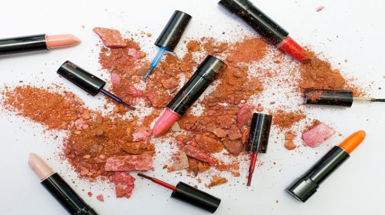 Open lipsticks crushed blush and nail polish brushes - Health & Beauty Products To Avoid