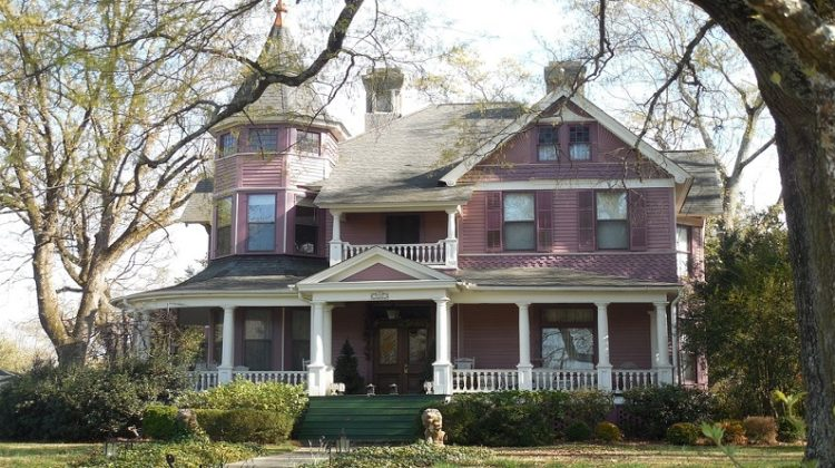 Pink Victorian Home with White Porch and Trim - Period Properties