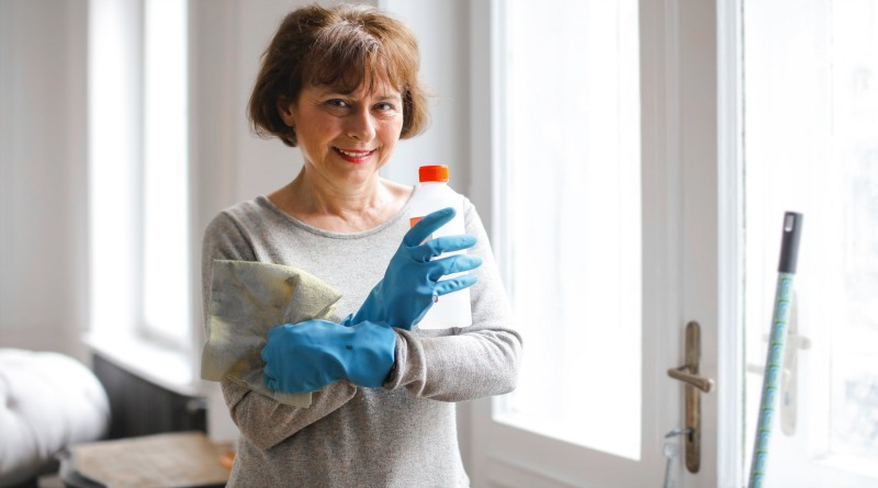 Cleaning Woman Wearing Rubber Gloves - Office Cleaning Services Sydney Australia