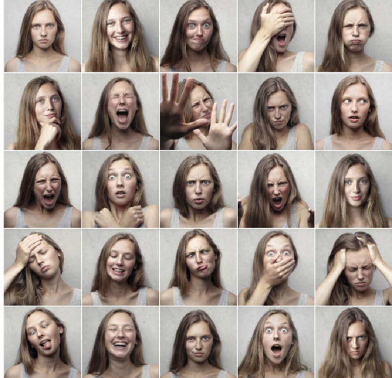 Multi pics of a womans face as she expresses different feelings.