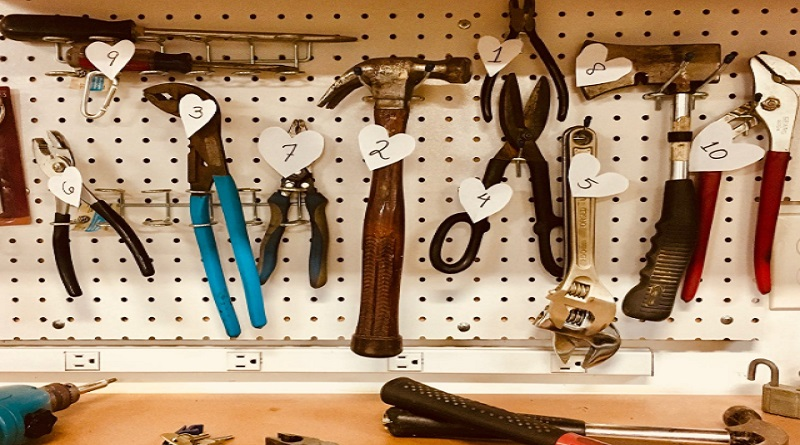 Convenient Hand Tools - Hanging on Pegboard