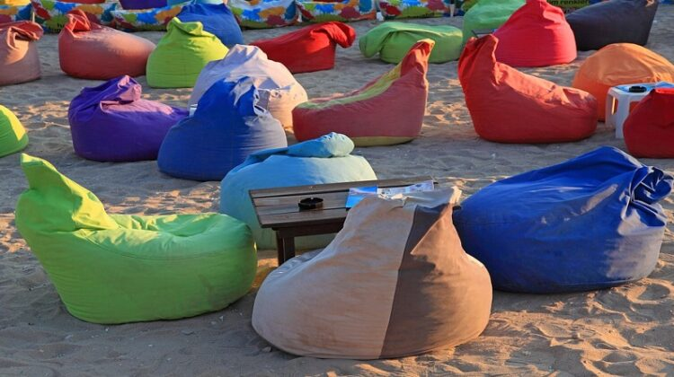 Colorful Bean Bag Chairs on a Beach