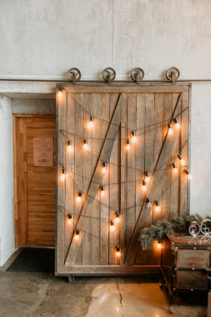 Barns Door in Home with Sting of Lights - Unique Touches for Your Home