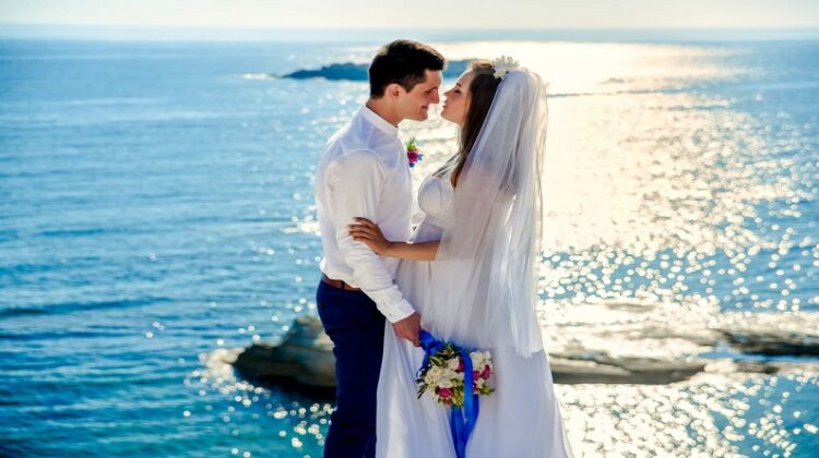 Bride and Groom on the Beach - Frugal Wedding Ideas and Tips