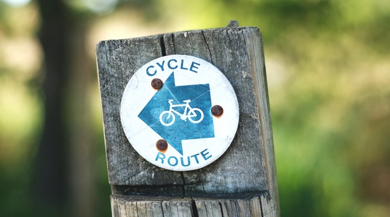 Cycle Route Sign on Wooden Post - Environment-Friendly