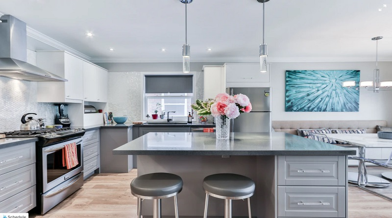 Grey Toned Kitchen with Center Island -