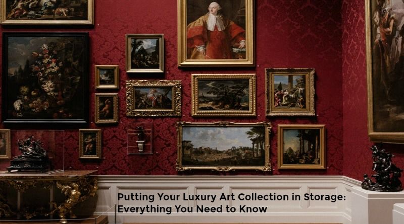 Framed Art on Wallpapered Wall - Putting Your Luxury Art Collection in Storage