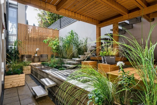 Beautiful and Serene Landscaped Patio - Hiring Landscaping Companies