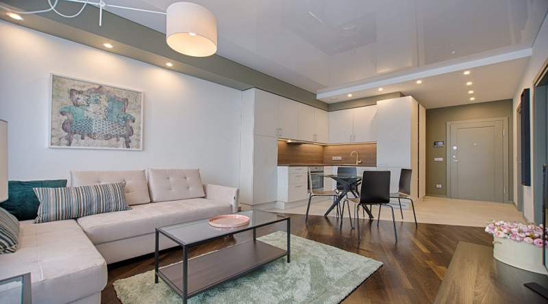 Neutral living dining and kitchen in apartment-Make Your Home Look Expensive, Inexpensively
