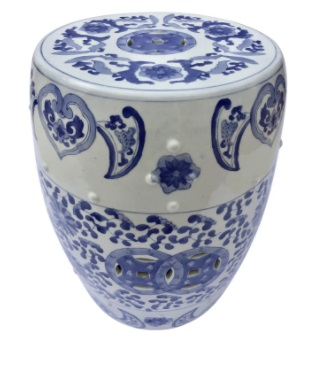 Blue and White Garden Stool Create a Chic Décor