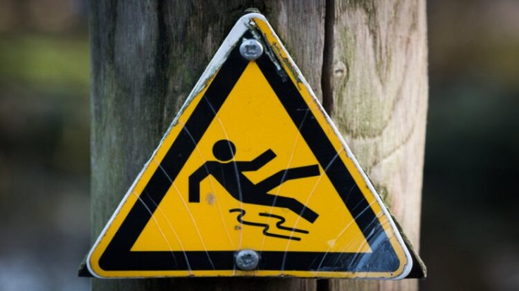 Caution Falling Sign Causes of Slips, Trips and Falls