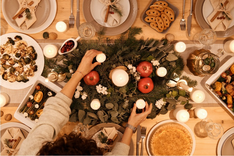 Self-Care Tips for Christmas Holiday Table Filled with Food