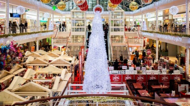 Inside a Mall Decorated for Christmas